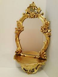 home interior mirrors homco syroco home interior wall decor mirror shelf gold