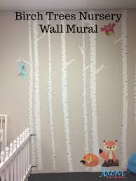 Wall Mural White Birch Trees Painted Birch Trees Mural For The Nursery Wall