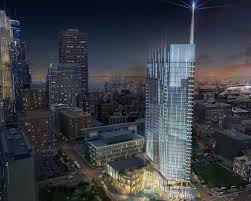 developers four seasons work on tower for nicollet mall