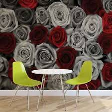 grey wallpaper with red flowers wall mural photo wallpaper xxl red grey roses flowers vintage