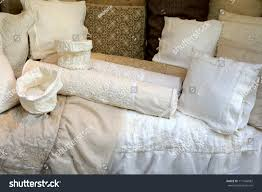 group hand made vintage linen pillow stock photo 111646082
