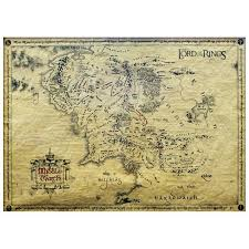 map from lord of the rings official lord of the rings middle earth parchment map poster 66 x