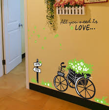 diy green flora bike romantic you need love home decals wall