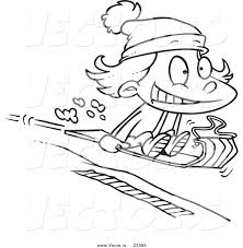 cartoon vector of cartoon sledding coloring page outline by