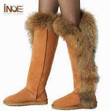 womens thigh high boots size 11 inoe winter warm boots sheepskin lined shoes fox