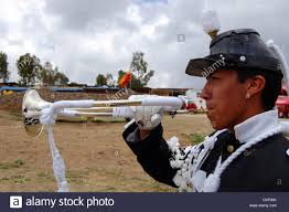 profile view outdoor mexican bugle trumpet in