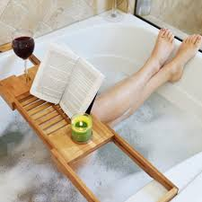 bathroom outstanding teak bathtub caddy for modern bathroom