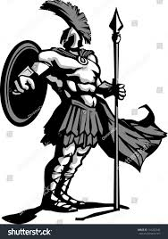 strong greek spartan trojan soldier holding stock vector 116202340