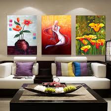 Canvas Without Frame Triple Wall Canvas Abstract Retro Flowers Oil Painting Dining Room