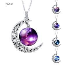 moon necklace images Yaution fashion purple nebula space universe women galaxy crescent jpg