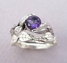 amethyst wedding rings amethyst leaf ring wedding set leaf ring amethyst engagement