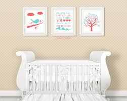 Nursery Bird Decor Aqua And Coral Nursery Decor Bird Nursery Decor Nursery Motif