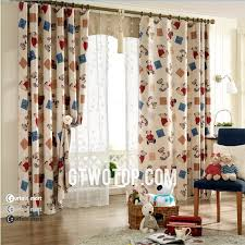 Bear Plaid Patterns Brown Children Room Cheap Blackout Curtains - Room darkening curtains for kids