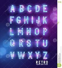 retro lightbulb theatre letters stock vector image 76255707