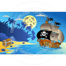 cartoon night seascape with pirate ship by clairev toon vectors