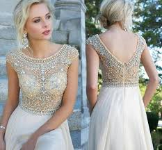 2015 long chiffon prom gowns a line scoop cap sleeve backless