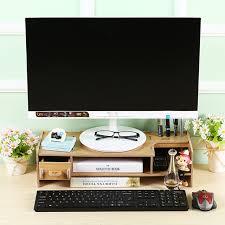 Decorative Desk Organizer Eco Friendly Decorative Wooden Monitor Riser Stand 2 Tier Desktop