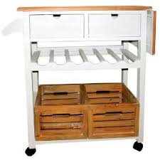 servierwagen auf rollen mit 2 schubladen und 2 körben aus holz - Servierwagen Küche