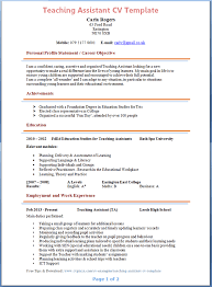 example of cv layout teaching assistant cv template sample resume for daycare assistant