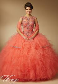 quinceanera dresses coral 89041 quinceanera gowns jeweled beading on ruffled tulle 15