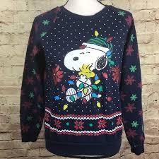 snoopy christmas sweatshirt peanuts peanuts blue snoopy christmas sweatshirt size xs from