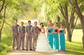 turquoise wedding and turquoise wedding party attire