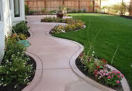 exterior remarkable garden landscaping ideas concrete walkway