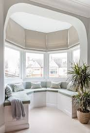 Blinds For Bow Windows Decorating Lovely Bay Window Roman Shades And Hemp Roman Shades Blinds For