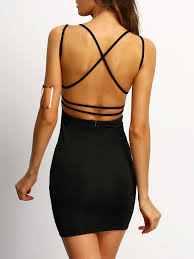 black bodycon dress black crisscross back bodycon dress emmacloth women fast fashion