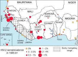 Western Africa Map by West African Hiv 2 Prevalence Associated With Lower Historical