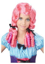doll halloween costumes pink doll curls wig