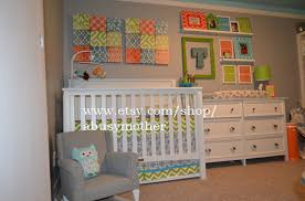 Modern Baby Crib Sheets by Modern Bumperless Boys Blue Gray Orange Custom Baby Crib
