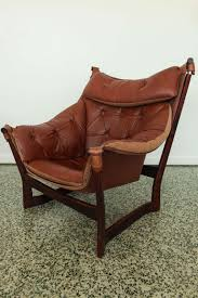 Modern Leather Lounge Chair Ingmar Relling For Westnofa Brown Leather Sling Lounge Chair