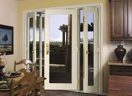 Wood Patio Doors With Built In Blinds by White Wooden Patio French Door With One Way Mirror Panel Exterior