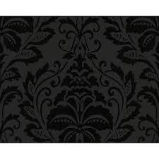 as creation flock floral damask pattern wallpaper metallic
