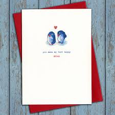 personalised penguins in love christmas card by the little cloth