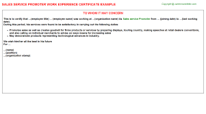 Experience Letter India sales service promoter work experience certificate