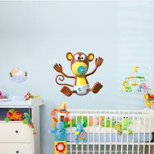 monkey mural decal baby wall art safari jungle zoo animals nursery 3d monkey baby wall decal