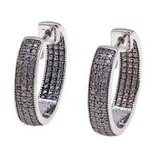 black diamond hoop earrings 0 50ct pavé set colored diamond inside outside sterling silver