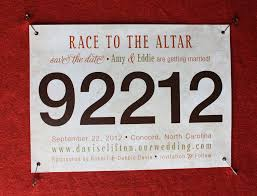 wedding save the date ideas std emdotzeedotcom 2012 04 orange brown gold marathon bib save the date cards jpg