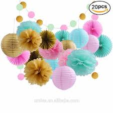 umiss 20pcs gold mint pink baby shower birthday decoration bridal