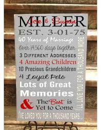 40th wedding anniversary gifts for parents custom for personalized 5th 10th 25th 40th 50th