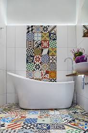 best 25 bathroom feature wall ideas on pinterest freestanding bold and vivacious encaustic tiles for the modern mediterranean bathroom design cassidy hughes interior