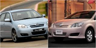 the primary difference between toyota runx and allex car from japan