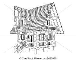 house drawings wooden house drawing 3d illustration stock illustration search