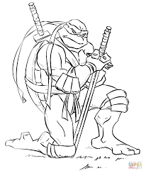 leonardo ninja turtles coloring free printable