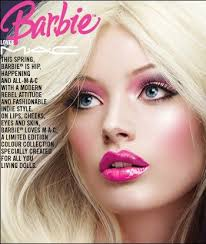 this image on the print ad shows mercial implications because the mac pany which sells beauty s wants to take c amy barbie makeup