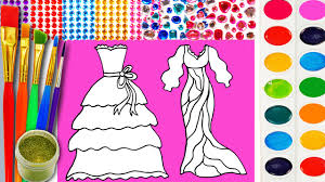 pretty dresses coloring page for children to learn color with