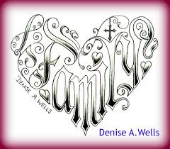word family tattoo designs word family made into a heart shaped