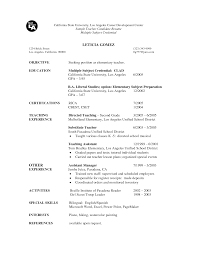 Resume Sample For Teaching substitute teacher resume samples eager world sample resume for